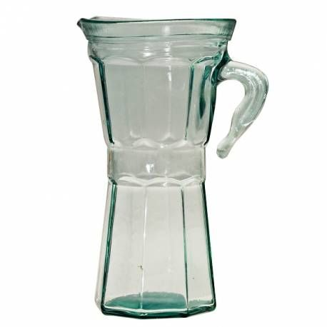 This recycled glass Pitcher 850ml., with Italian coffee maker shaped, will give a touch of vintage elegance to your zero waste and plastic free table.