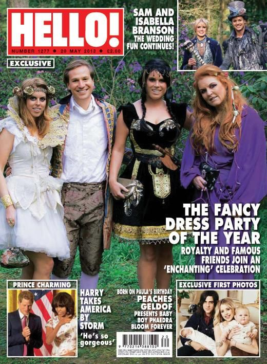 prettylittlefools:  cover of Hello! magazine with the York family attending a fancy dress party-Princess Beatrice and her boyfriend Dave Clark, Princess Eugenie, Sarah, Duchess of York,
