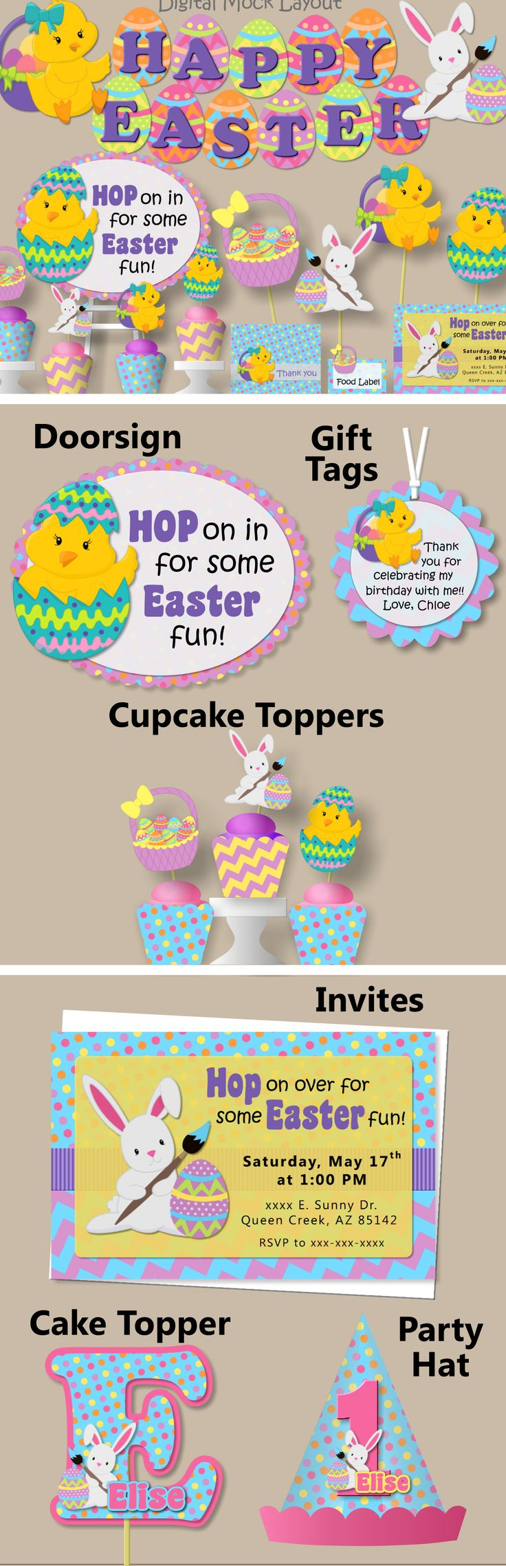 Easter Birthday Party Decorations - Invitations, Banner, Cupcake Toppers, Cake Topper, Favor Tags #bcpaperdesigns