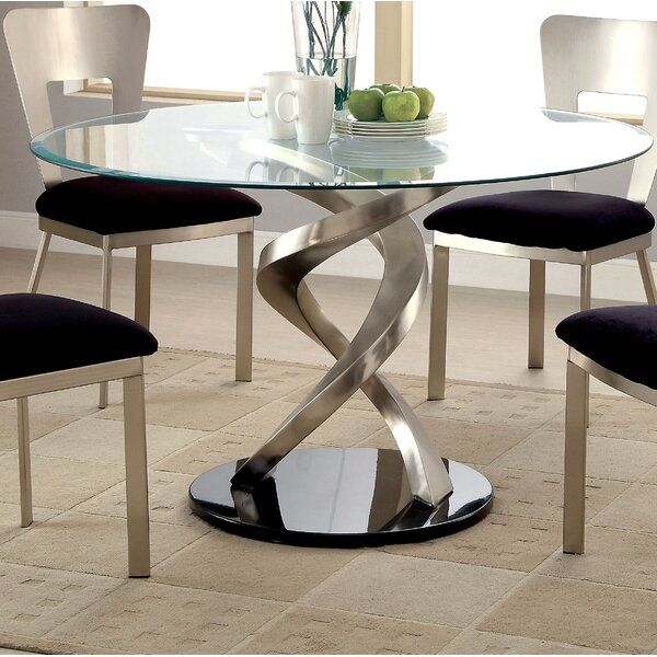 Beulah Dining Table In 2021 Dining Table Decor Glass Round Dining Table Contemporary Dining Table