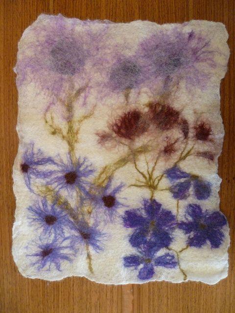 """""""Botanical Felting"""" finished felt picture by Christine Wallace"""