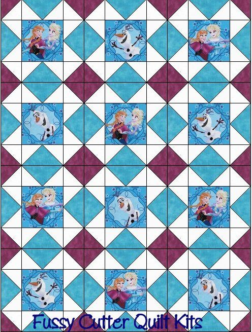 Frozen Elsa Olaf Anna Baby Children Disney Fabric Fast Easy Beginner Pre-Cut Quilt Blocks Top Kit Quilting Squares Patchwork sale