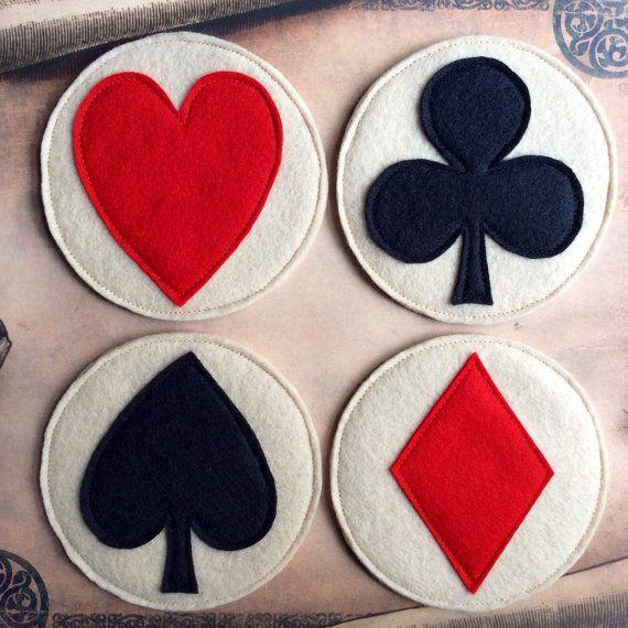 Wool Felt Coasters-Playing Card Suit Symbols-Stocking Stuffer