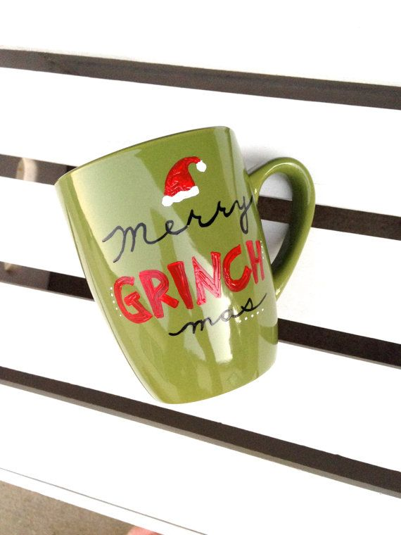 Merry Grinch Mas Hand Painted Coffee Mug 12 by STITCHandCABOODLE