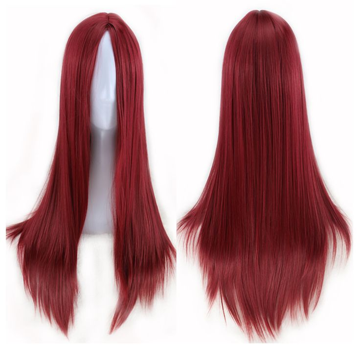 70 Cm Long Straight Wine Red Wig No Bangs Middle Part Women Sexy Cosplay Wig Heat Resistant Synthetic Hair Wigs Peruca Pelucas