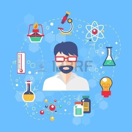 Concepto de la qu�mica con elementos de vidrio de laboratorio y cient�fico en la ilustraci�n vectorial media photo