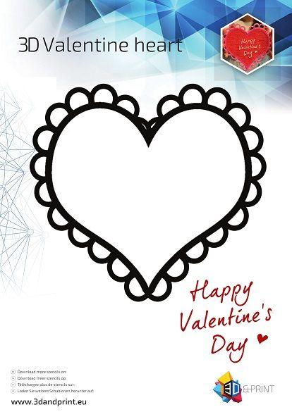 3D Hart Valentijn Stencil