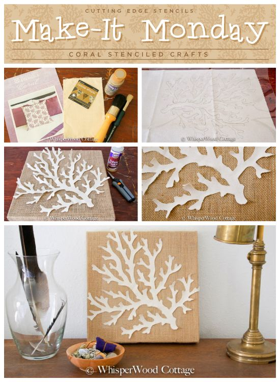 Stencil the Coral Wall Art pattern to create this easy DIY stenciled wall art project. http://www.cuttingedgestencils.com/beach-style-decor-...