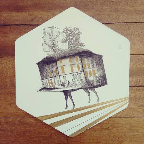 """ Sujeto imposible sospechoso "" porta calientes pieza única #Himallineishon #homedecor #illustration #house #impossible"