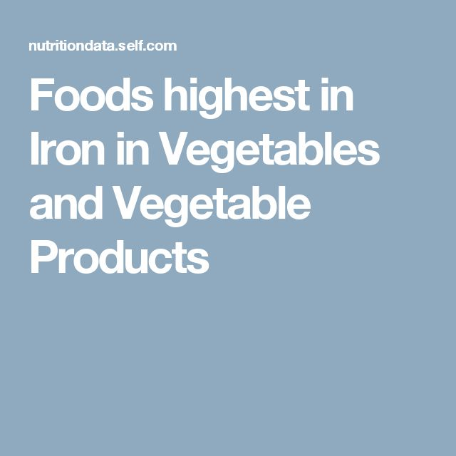 Foods highest in Iron  in Vegetables and Vegetable Products
