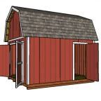 12x14 Gambrel Shed Plans - Side view