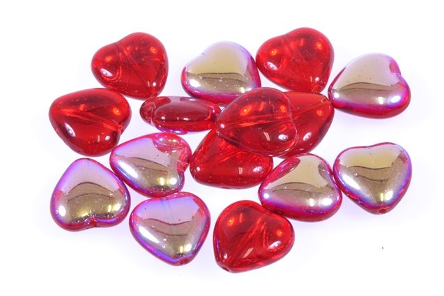 Pressed glass beads heart shape, size 12x11 mm, 20pcs in package, color Ruby with AB 28701