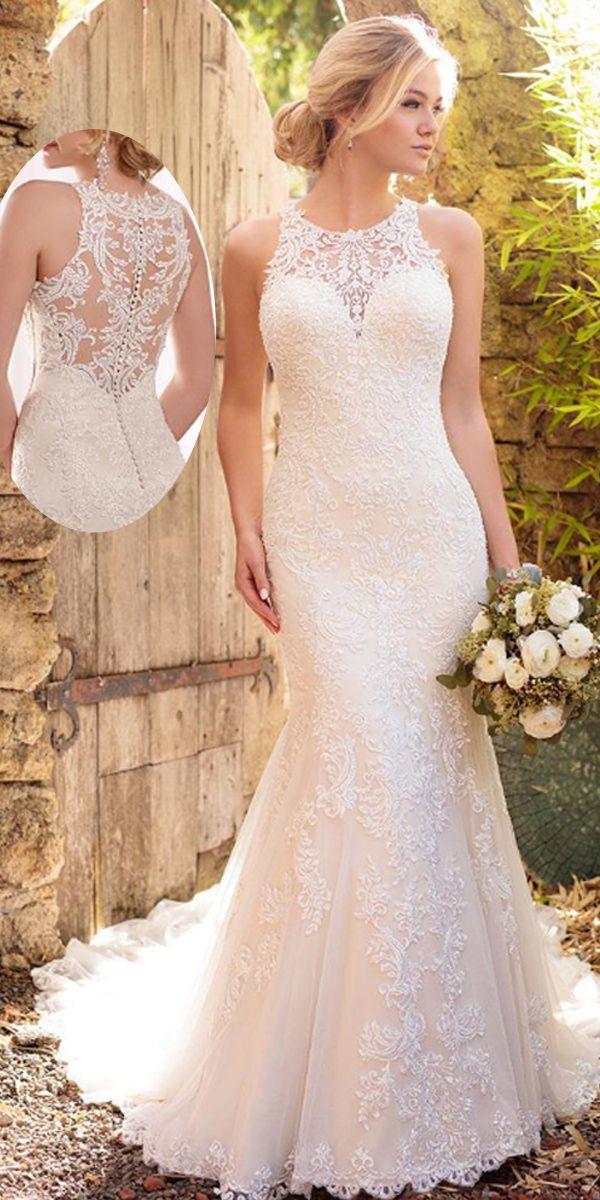 Glamorous Tulle Jewel Neckline Natural Waistline Mermaid Wedding Dress With Lace…