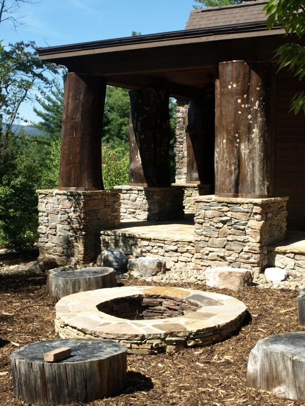 Stone Fire Pit & Outdoor Living Area - so rustic
