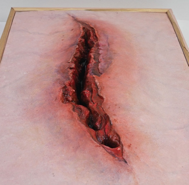 Unsutured wound gapes, art of an unskilled surgeon, such hunger escapes...hq17 / ANISH KAPOOR Flesh