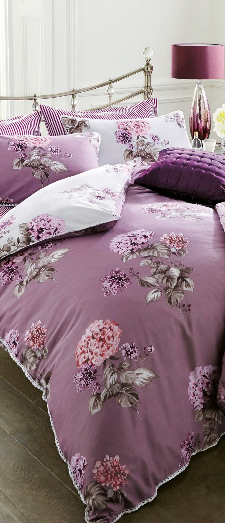 Plum and green bedding -  Such Pretty Floral Fabric Lavender Bedding Purple