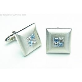 Blue Crystal Four Square Cufflinks - These cufflinks are made from a brushed frame with four crystals in the centre. The quality is exceptional.