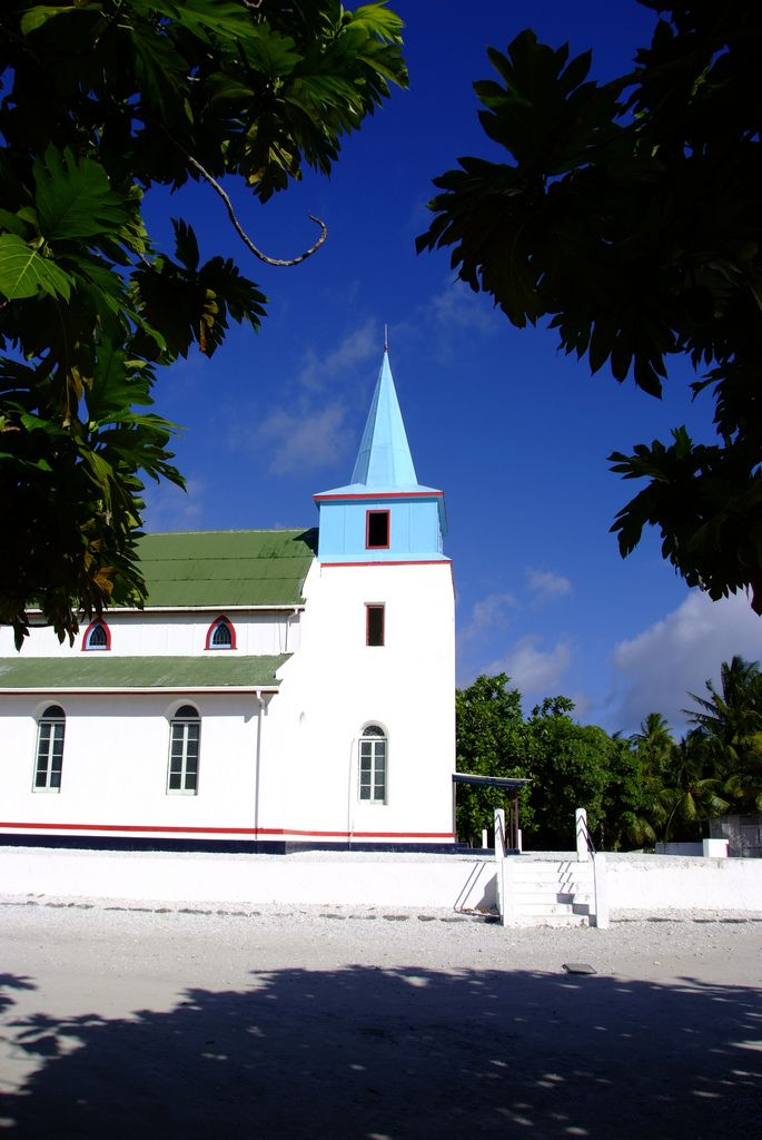 https://flic.kr/p/94YEzr | Tuvalu Niutao Church | The bell tower in the church is the highest place in this island.