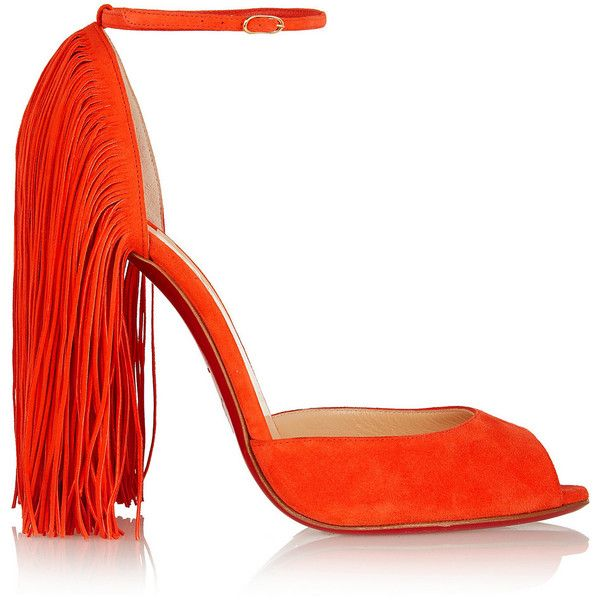 Christian Louboutin Otrot 120 fringed suede sandals (1,360 CAD) found on Polyvore featuring women's fashion, shoes, sandals, heels, christian louboutin, louboutin, bright orange, high heel sandals, fringe heel sandals and suede sandals