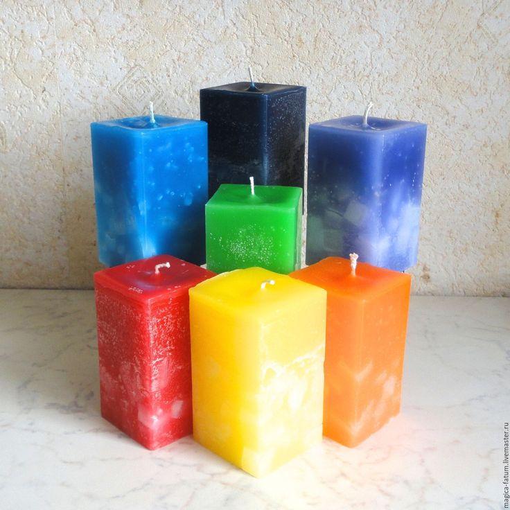 Купить Свеча - программа Чакры - комбинированный, свечи ручной работы, Свечи, магия, программа, успех