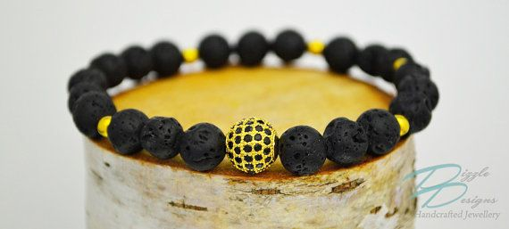 Gold and Black CZ Pavé Bracelet w/ Black Lava by DizzleDesigns - #jayz #ballin #mensstyle #goldandblack