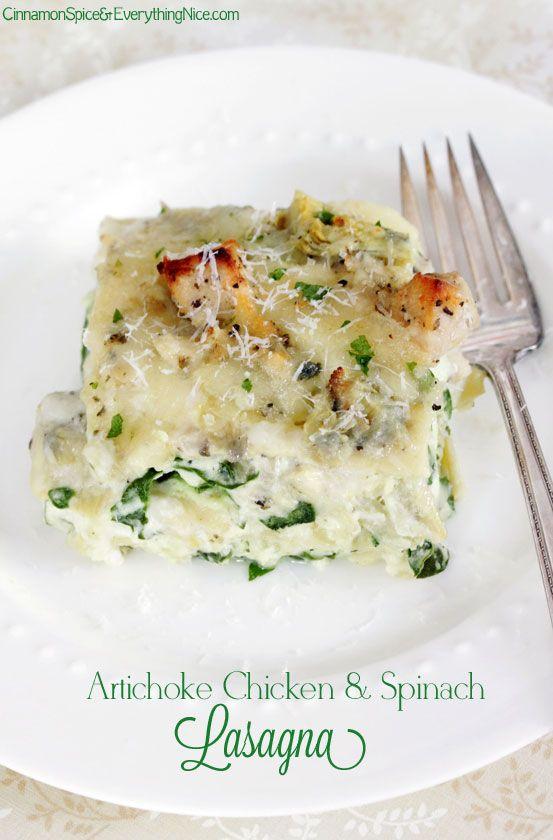 Artichoke Chicken and Spinach Lasagna #dinner