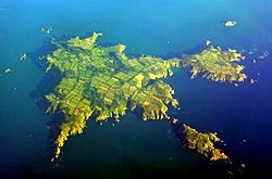 Aerial view of Sark.North is to the lower left, Little Sark toward the upper…