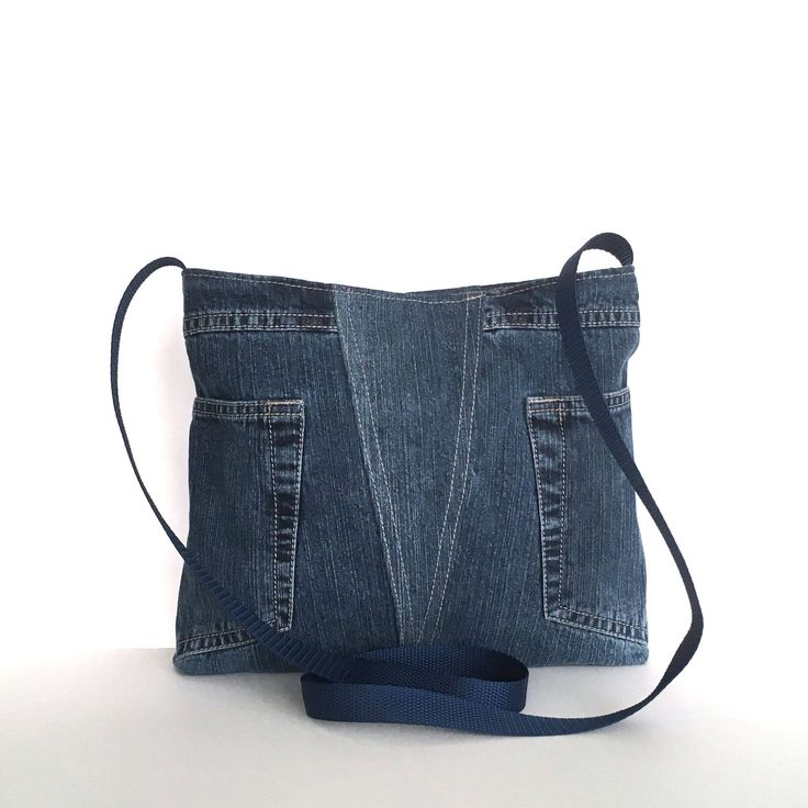 Jean cross body bag, Recycled blue purse, Medium size purse, Travel bag, Cross over purse, Upcycled jean bag, Eco friendly purse, Denim bag by Sisoibags on Etsy https://www.etsy.com/listing/556418625/jean-cross-body-bag-recycled-blue-purse
