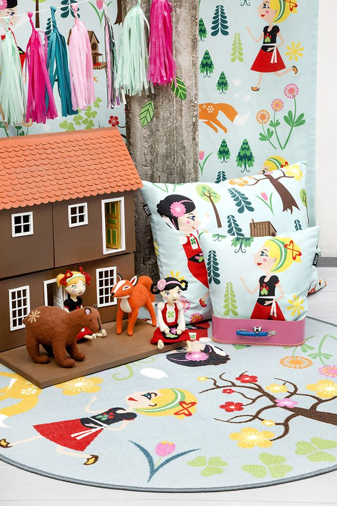 Vallila & Mimmit collection: Kotipiha, green curtain, cushion and rug. Design Meri Mort & Vallila Design Studio