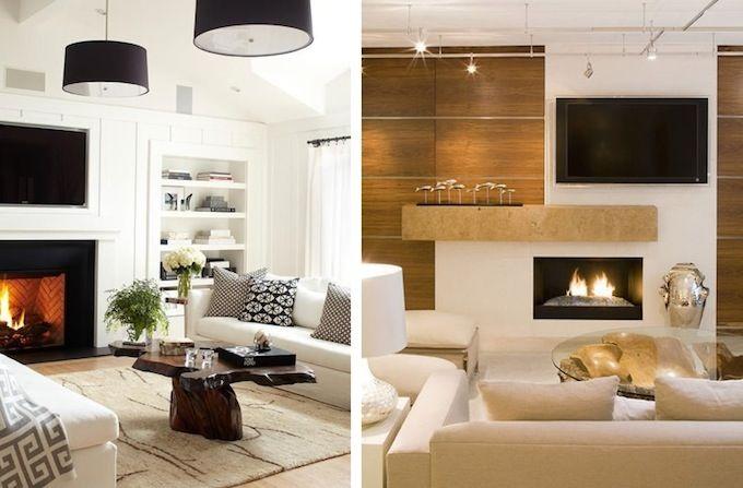 Дизайн гостиной, стена с ТВ, камин