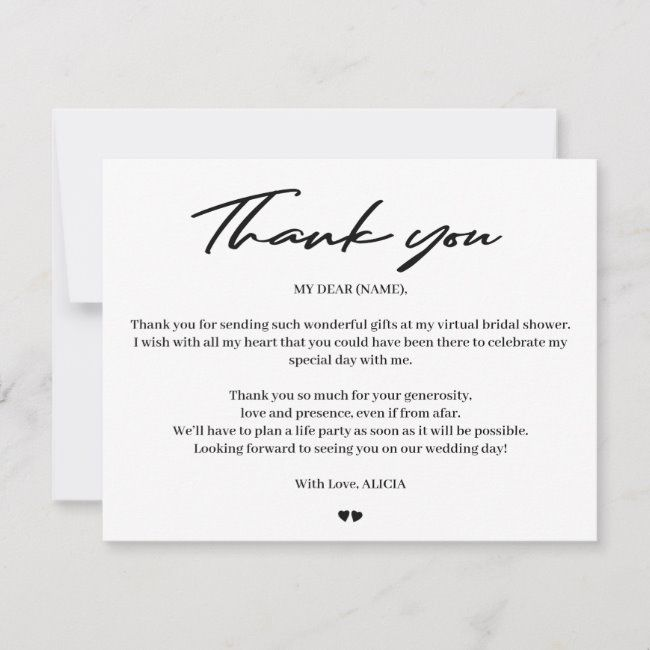 Modern Typography Bridal Virtual Shower Thank You Zazzle Com Virtual Shower Virtual Bridal Shower Bridal Shower Thank You Cards Wording