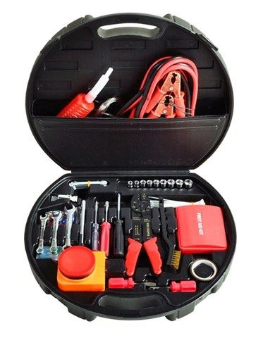 The deluxe roadside emergency kit includes 132 tools and accessories needed for your vehicle repairs. The case is made out of a durable plastic in the shape of a wheel.