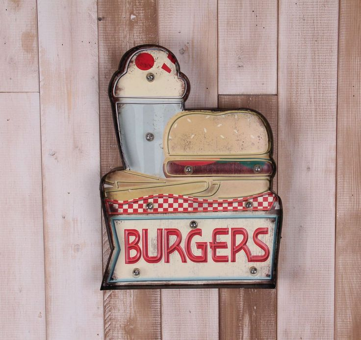 Retro American Diner Burgers Wall Light