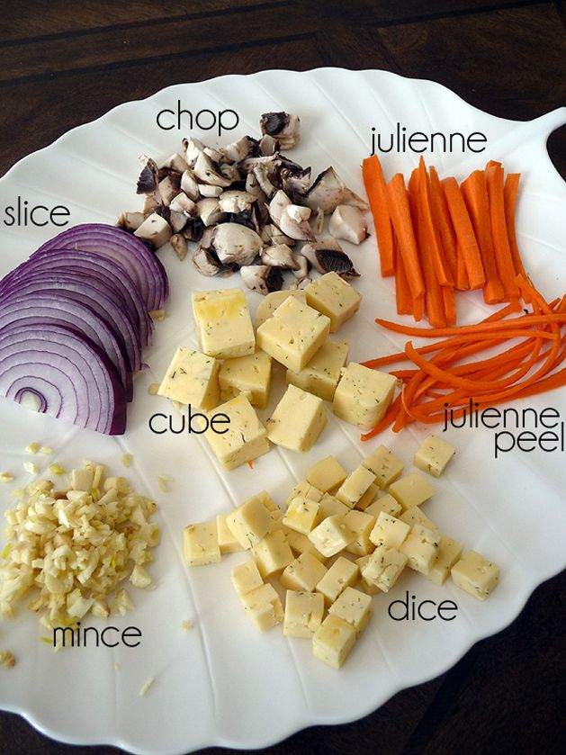 Kitchen 101: Cutting. Some of the most common cutting terms for cooking since my hubby seems to think that I made these terms up.