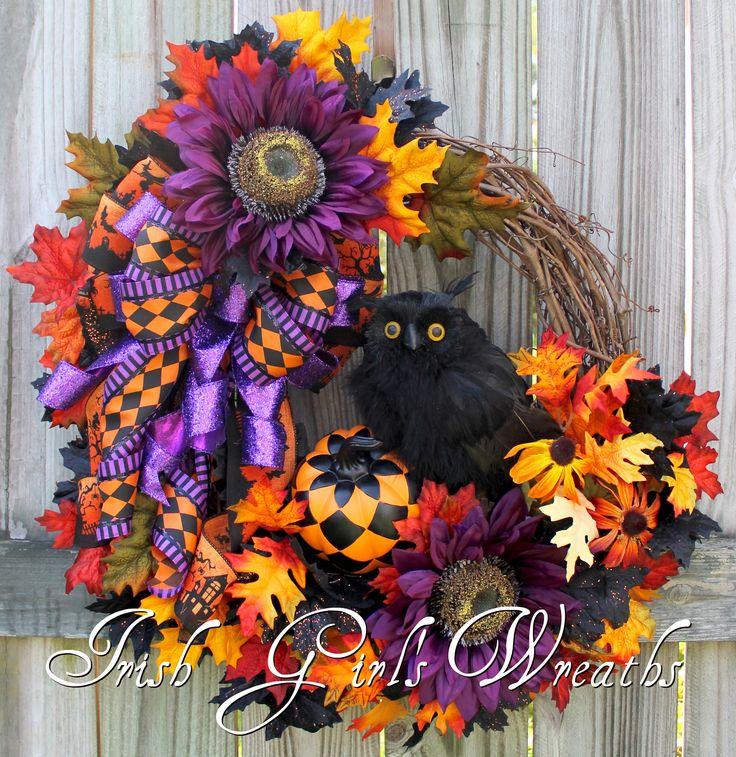 Black Flower And Crow Halloween Wreath: Black Owl Harlequin Halloween Floral Wreath, Purple