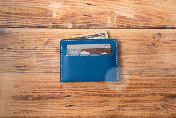 man leather wallet card holder wallet leather wallet blue credit card wallet credit card holder slim wallet thin wallet minimal wallet blue