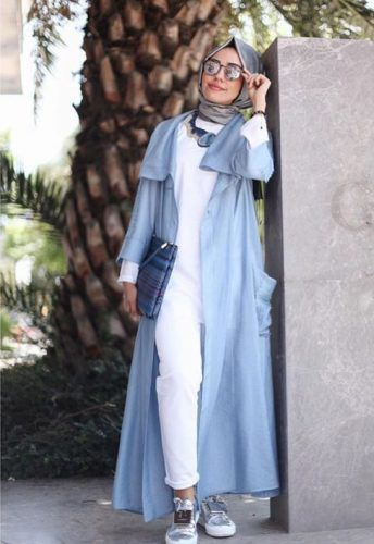blue abaya with sneakers- Abaya hijab fashion from Dubai http://www.justtrendygirls.com/abaya-hijab-fashion-from-dubai/