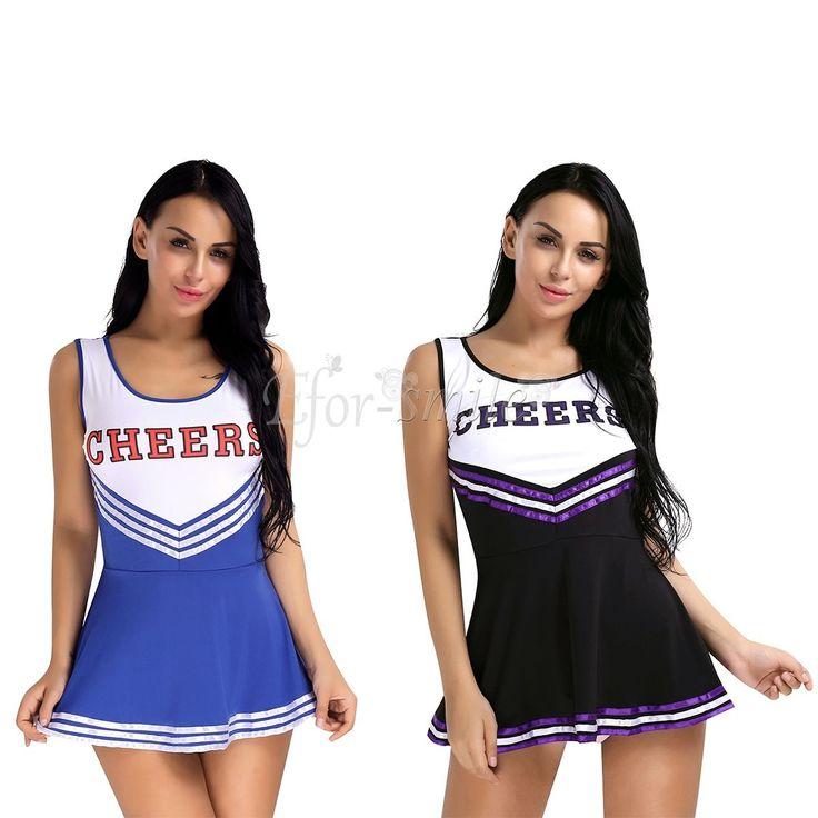 Details about Women Cheerleader Costume School Girls Musical Outfit Fancy Dress Uniform Outfit