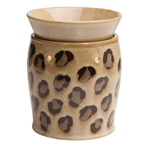 Exotic leopard spots prowl across a crackled tan background. To purchase, go to www.jenni.scentsy.com.au