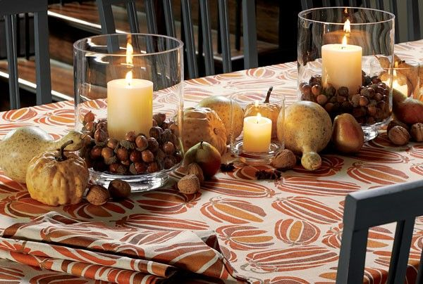 Add some light to your harvest theme to usher in fall | See more autumn table decor ideas here: http://www.mywedding.com/articles/autumn-and-halloween-table-decor-ideas/