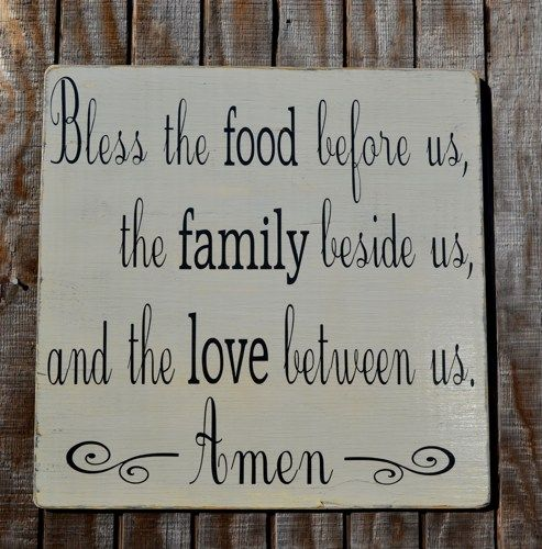 Kitchen Blessing Wall Decor: Wood Sign Bless The Food Before Us The Family Beside Us
