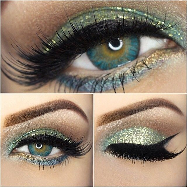 Beautiful by ✨@Linda Murrieta✨ wearing a  Fresh look with Turquoise and Gold  ✨✨ wearing matching Turquoise contacts from Freshlook by @eyecandyscom via eyecandys.com ✨✨ the gold glitter is from Sally girl, the turquoise colors on the lid and underneath both from Sephora ✨ highlight is @motivescosmetics 'pearl' and in the crease is 'natural' from my beauty weapon palette ✨ lashes are @House of Lashes 'Noir Fairy' ✨  #lindasteph #mua #makeup #gorgeous #inspiration #glittereyes #love…