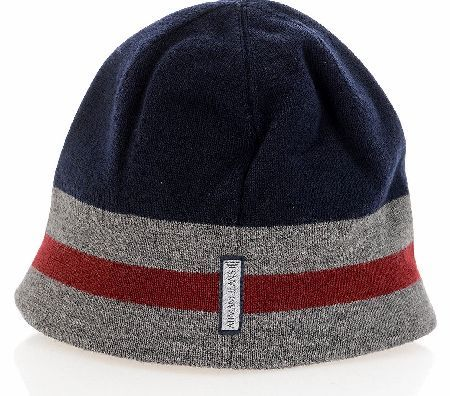 Armani Jeans Beanie Hat Armani Jeans Beanie Hat with a navy top with grey and red stripes around the sides of the hat with Armani Jean written in rubber text on the red band of the hat and a Armani jeans patch on the back of http://www.comparestoreprices.co.uk/beanie-hats/armani-jeans-beanie-hat.asp