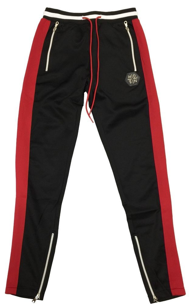 Hudson Outerwear Black//Red Striped Track Pants