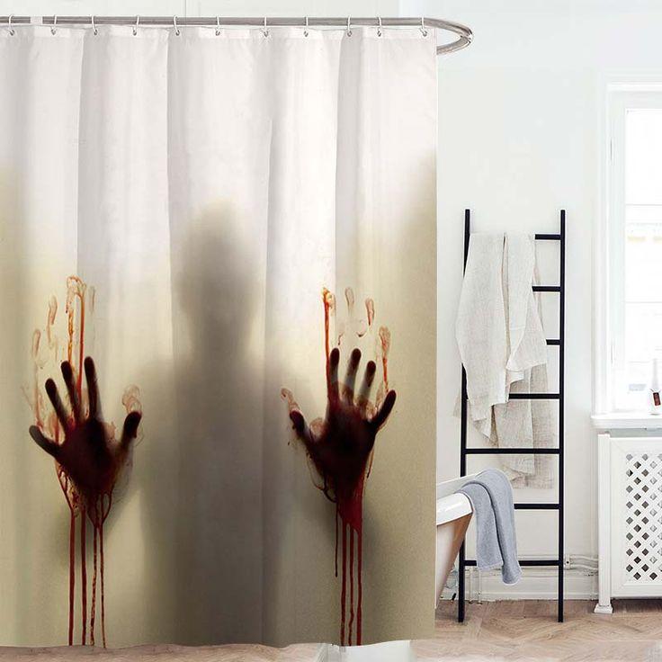 Rideau de douche impression empreinte de main avec sang d - Anti moisissure salle de bain ...