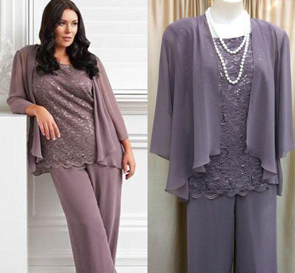 Cheap 2018 Fashion Light Purple Chiffon Plus Size Pants Suits For ...