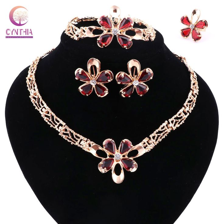 Hot sale jewelry sets women Trendy necklace for party wedding boho crystal with earrings statement necklace 2016