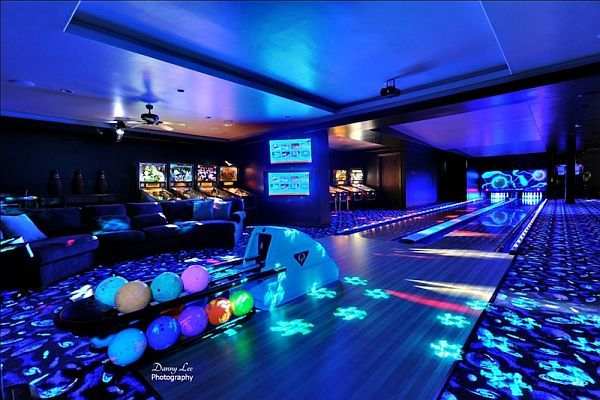 Pinball arcade & 2-lane bowling alley are just the beginning in this man-cave...