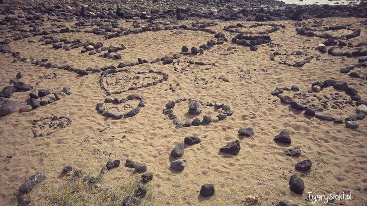Beach full of hearts in Lanzarote - Costa Teguise Visit my blog: http://tygrysiaki.pl/