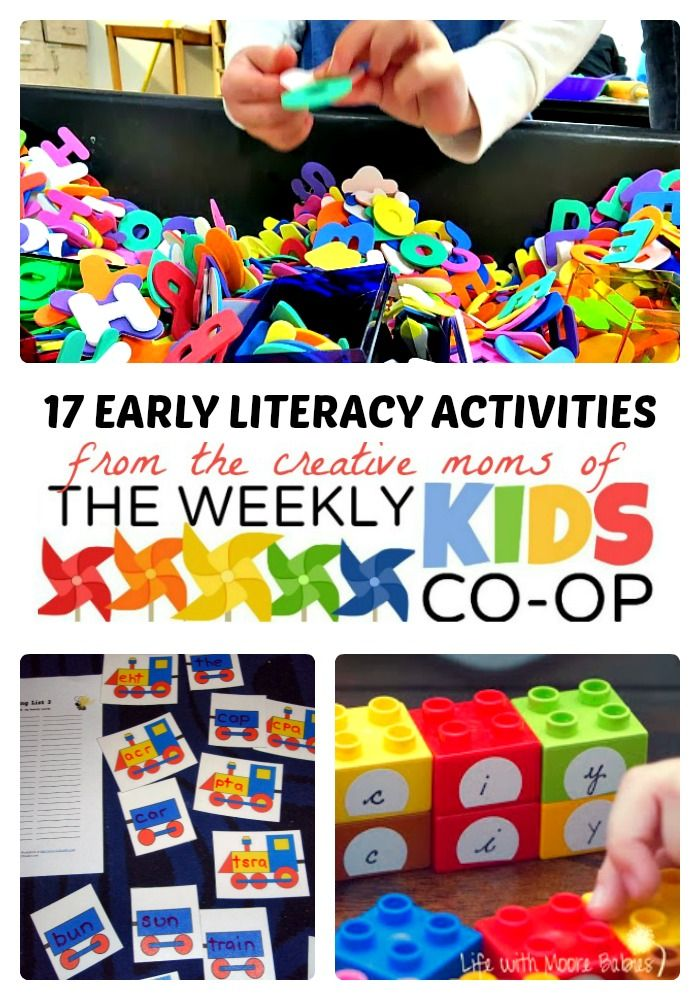 17 Early Literacy Activities from The Weekly #Kids Co-Op Link Party! #preschool #learning #kbn